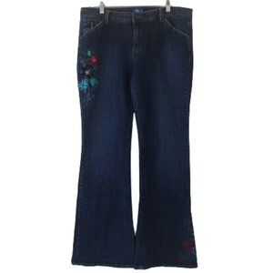 Lilu Floral Embroidered Flared Bootcut Jeans